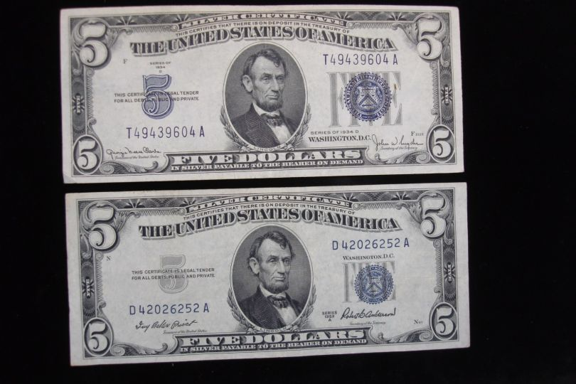 5 Silver Certificates 1934 1953 Only 2 Yrs Of Small Size