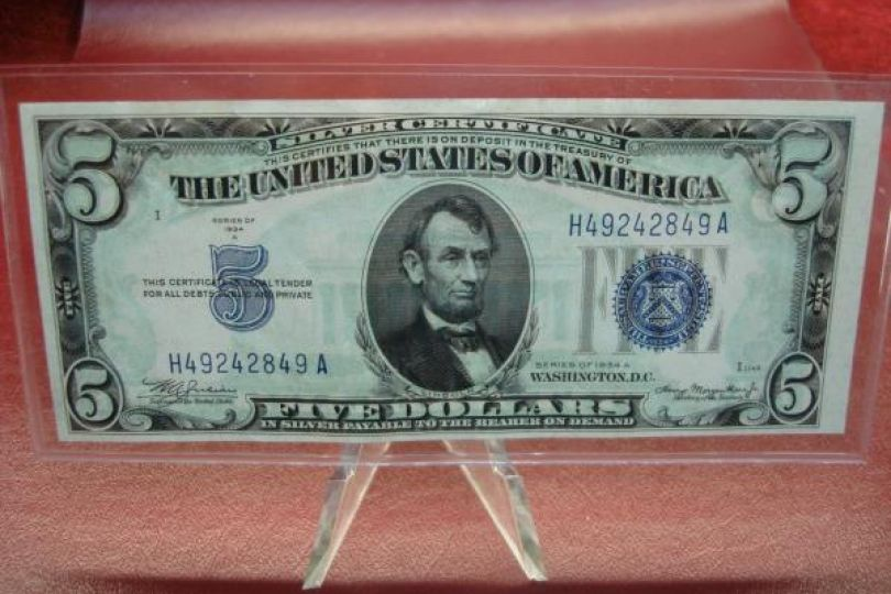 Series 1934 A 5 Us Silver Certificate Note Crisp Nice