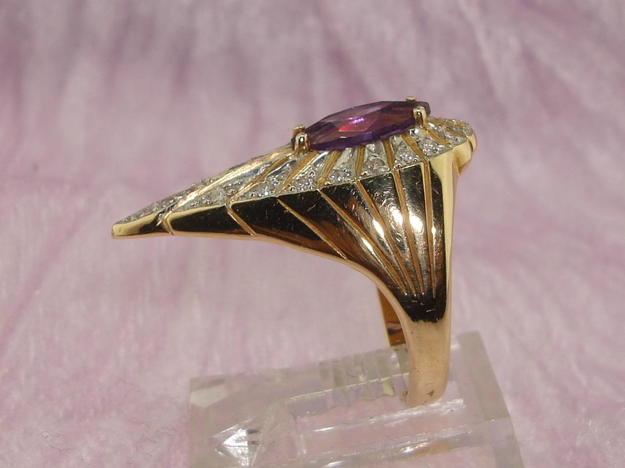 Vintage Erte Signed 14k Gold Amp Natural Amethyst Peacock