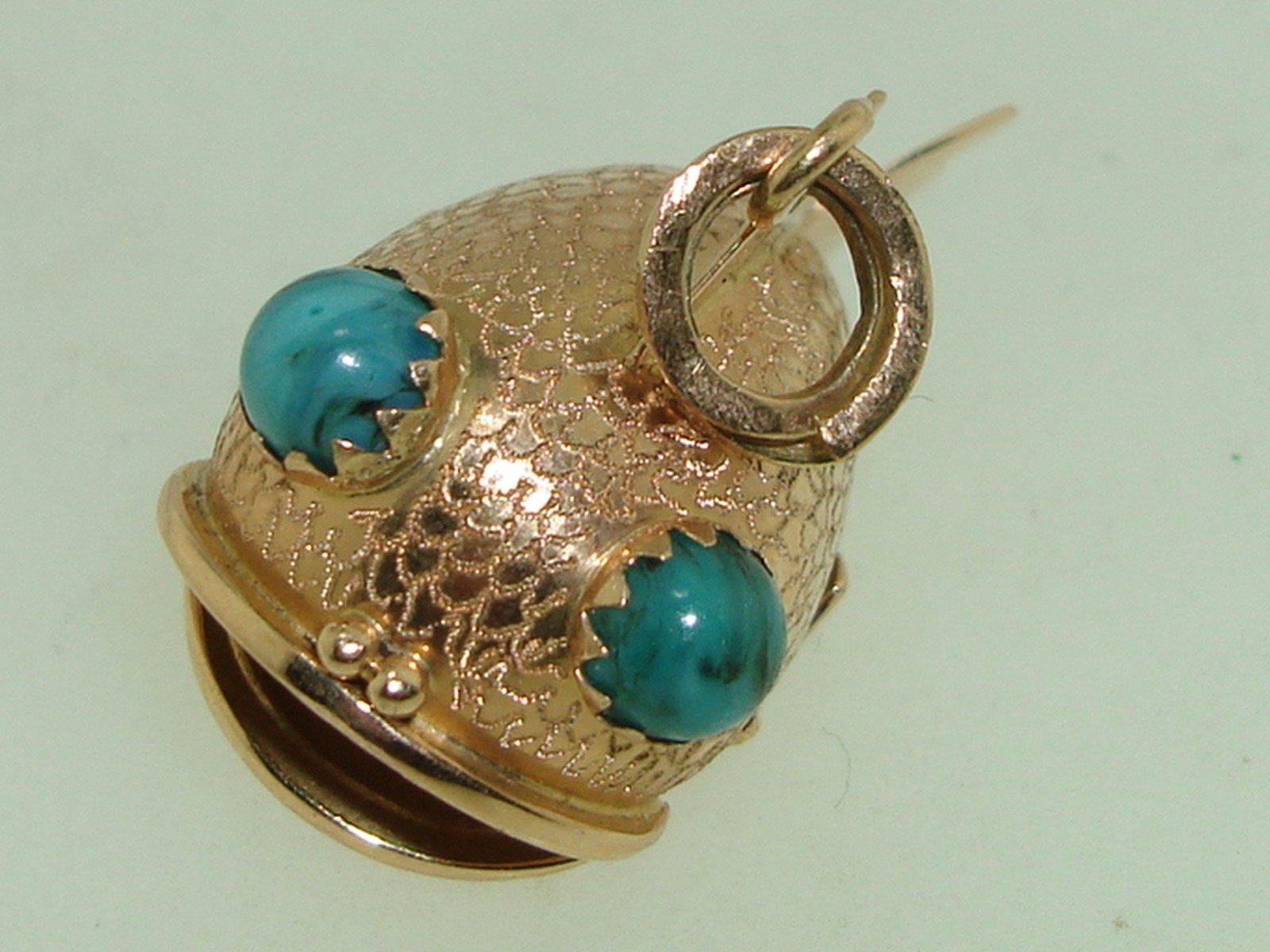Amazing 18kt solid rose gold detailed fish w turquoise for Solid gold fish