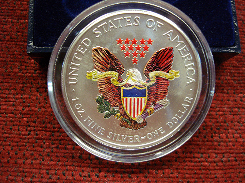 2002 U S Silver Eagle Colorized Both Sides Neat Item
