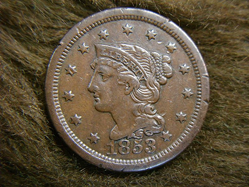 1853 U S Large Cent Braided Hair Type Early Copper