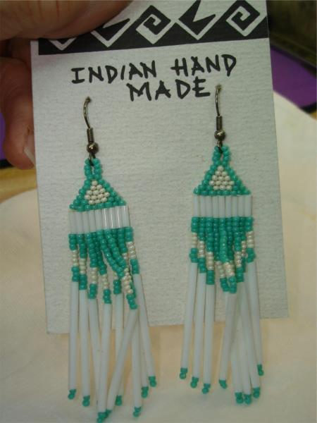 Vintage 1980/'s Hand Made Native American Beaded  Long Chandelier Earrings for Pierced Ears